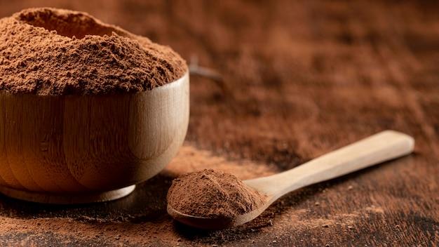 粘土粉末の混合物をクローズアップ