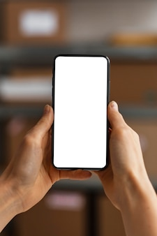 Close up mobile with blank screen