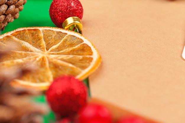 Close up mockup of invitation card with dry orange