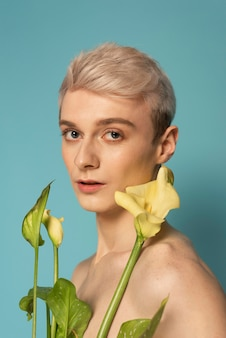 Close up model holding flowers