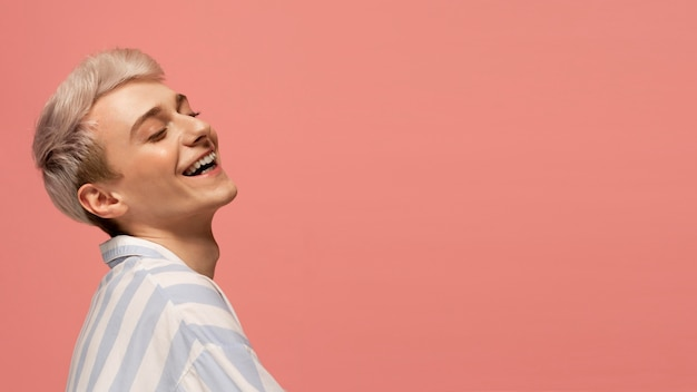 Close up model laughing with copy space