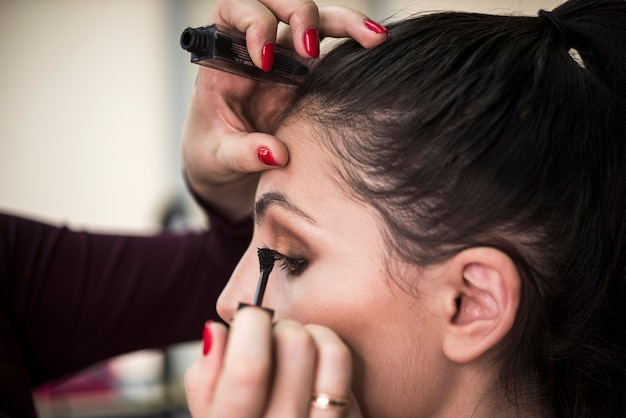 Close up of model in make up salon