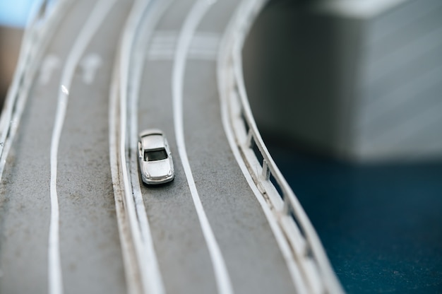 Close up of model small cars on the overpass, traffic concepts.