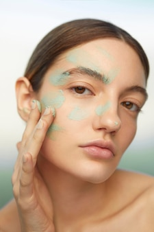 Close up model with facial mask