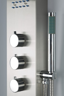 Close-up of modern chrome-plated stainless steel shower, for modern bathroom.