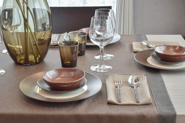 Close up modern classic dining set o wooden dining table
