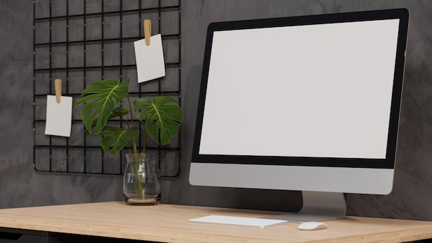 Макет пустой экран настольного компьютера современного домашнего офиса на деревянном столе 3d-рендеринга