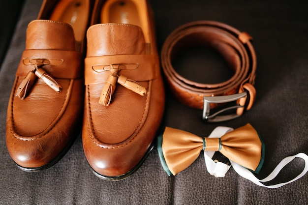 Close up of modern man accessories