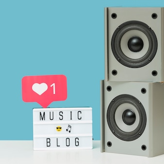 Close-up modern music speakers