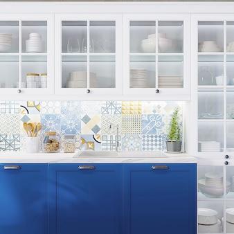 Макро современный дизайн кухни с кухонными принадлежностями