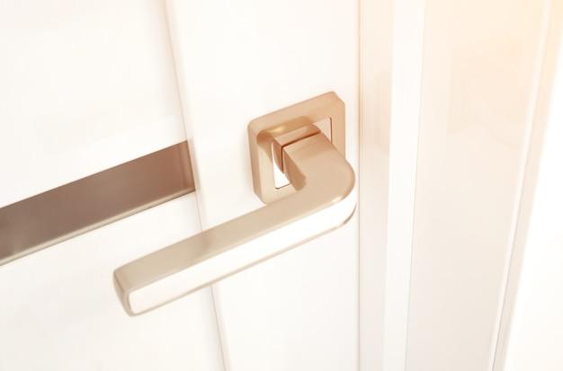 Close-up of modren style door handle. interior product.