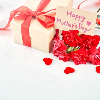 Close up of mother's day greeting gift concept.