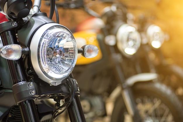 Close up motor bike headlights