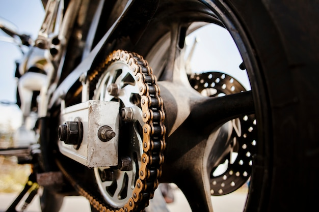 Close up motorbike wheel details