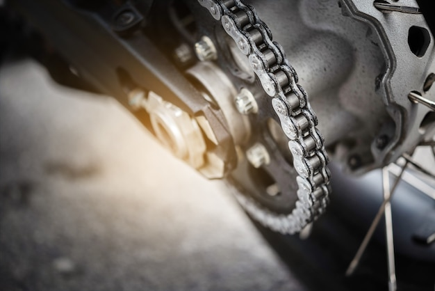 Close up motorcycle chain ,selective focus.