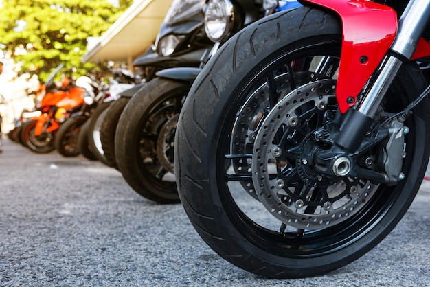 Close up motorcycle front wheel.