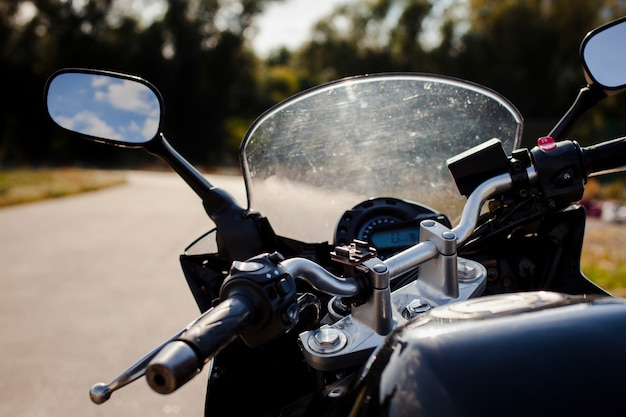 Close up motorcycle windshield