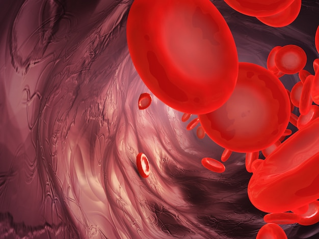 A close-up of the movement of blood particles in the artery. 3d rendering.