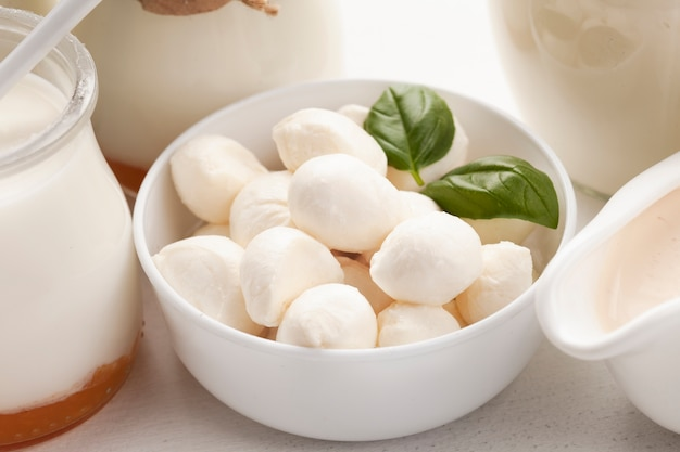 Close-up mozzarella in white bowl