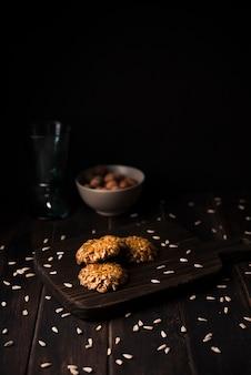 Close-up muesli cookies on wooden board