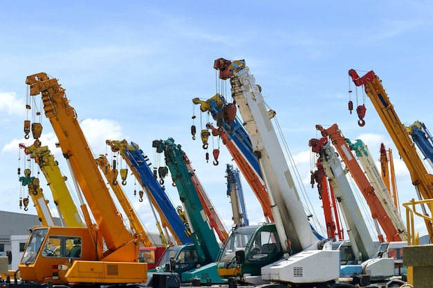 Close up multi crane truck