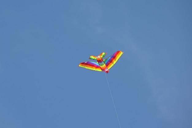푸른 하늘에 떠 있는 여러 가지 빛깔의 새 모양의 생생한 장난감 연을 닫습니다