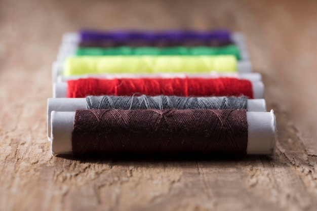 Close-up of multicolored thread reels
