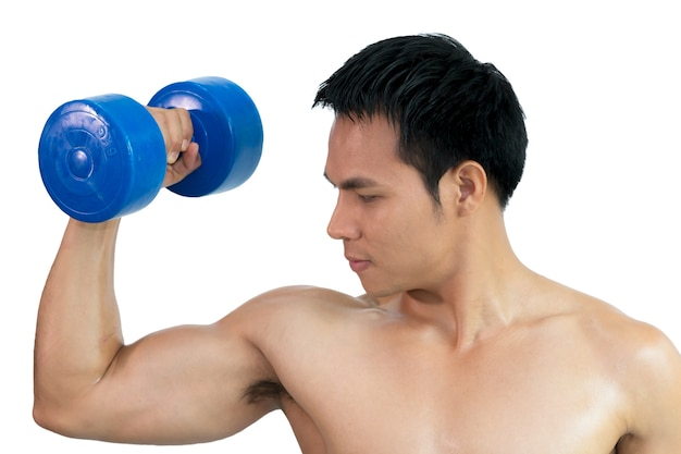 Close up muscular bodybuilder lifting and pumping up with dumbbell on white background