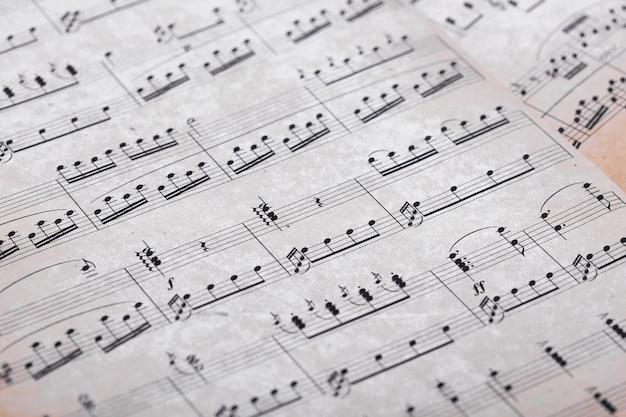 Close up of music notes on paper