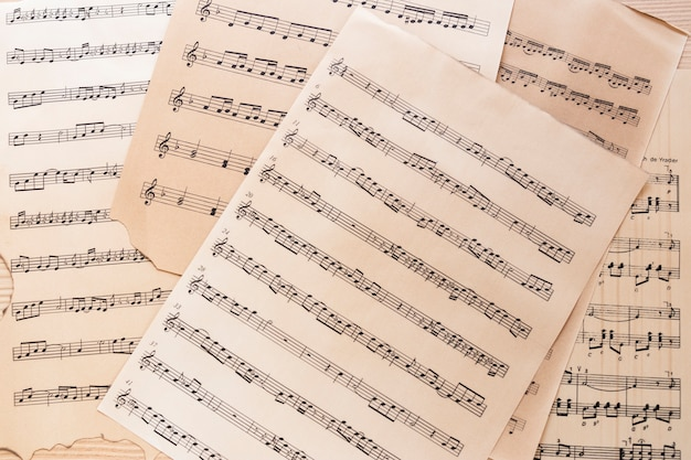 Close-up music sheet with notes