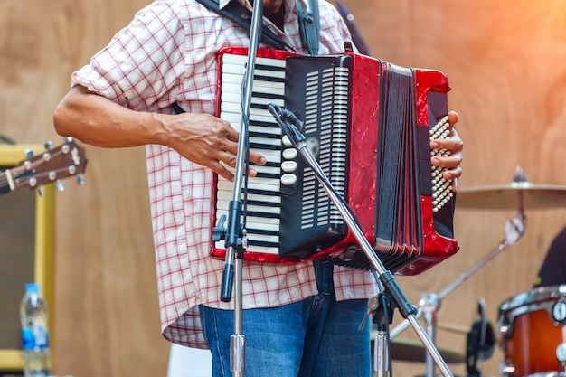Close up musicians are playing accordion on stage