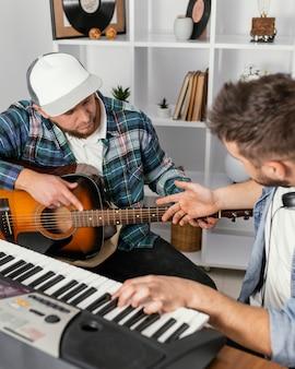 Close-up musicians making music