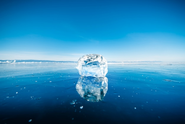 Close-up of natural breaking ice in frozen water on lake baikal, siberia, russia.