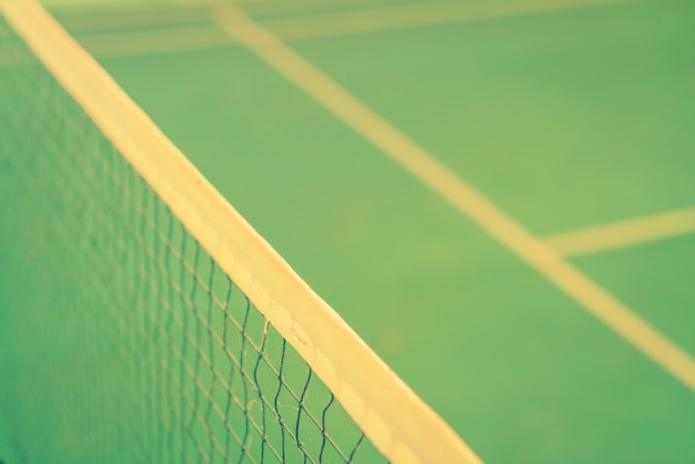 Close up of net in badminton court . ( filtered image processed