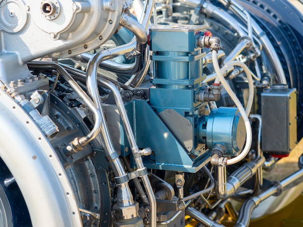 Close-up of the new engine for the ship. mechanism with a bunch of pipes and parts