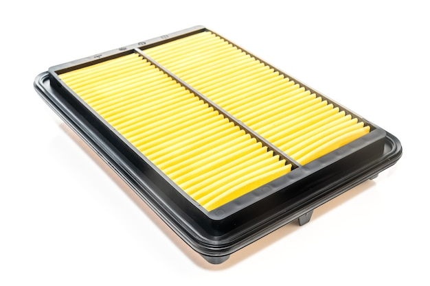 Close up new square car air filter on a white background