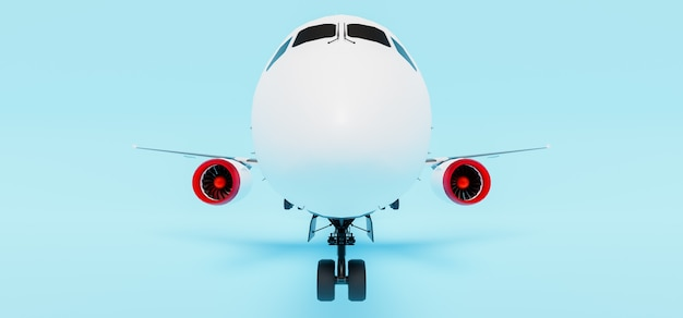 Close-up of the nose of a passenger plane on blue
