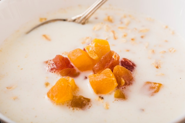 Close-up of oatmeal with fruits topping