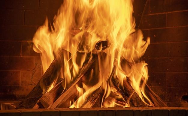 모닥불의 클로즈업