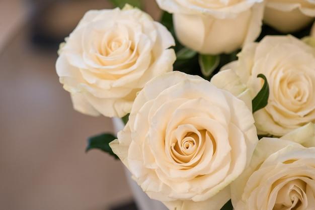白いバラの花束のクローズアップ