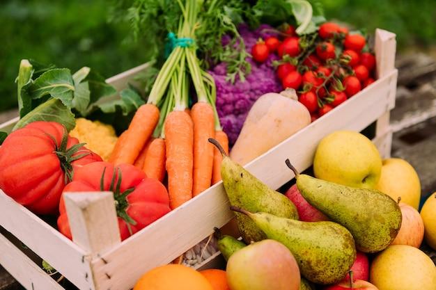 야채와 과일 상자 닫기
