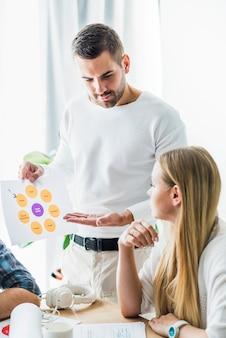 Крупный план бизнесмена, показывая график своему партнеру в офисе
