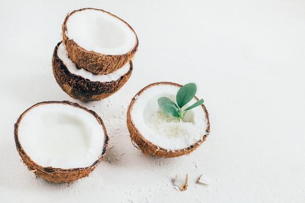 흰색 바탕에 코코넛의 클로즈업