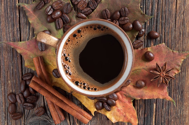 ホットコーヒーのカップのクローズアップ
