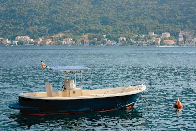 코티지와 해안 근처 침착 물에서 낚시 모터 보트의 클로즈업.