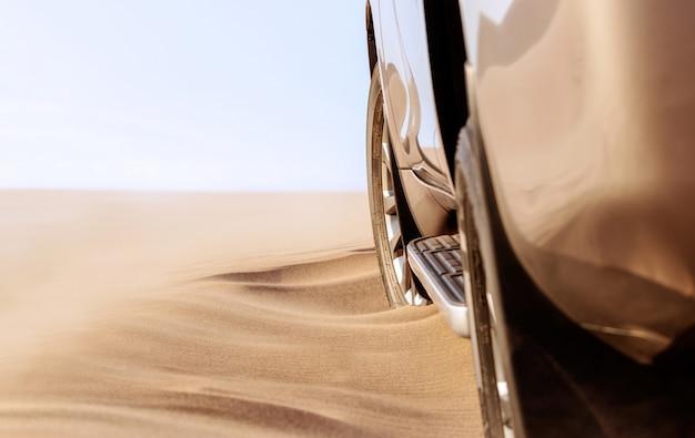 나미 브 사막의 모래에 갇힌 황금색 자동차 닫습니다. 07.04.2021. 아프리카. 나미비아