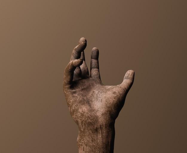 Крупный план руки, полной грязи. 3d рендеринг