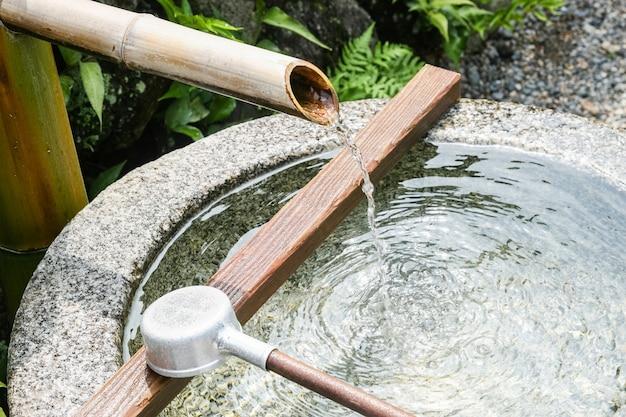 일본 대나무 분수의 클로즈업 무료 사진