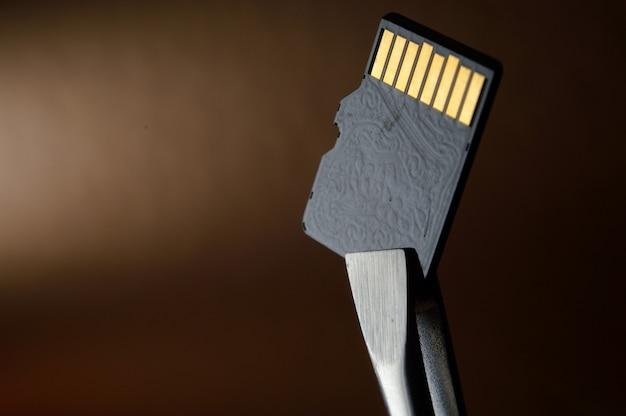 황금 그라데이션에 대한 마이크로 sd 메모리 카드의 근접