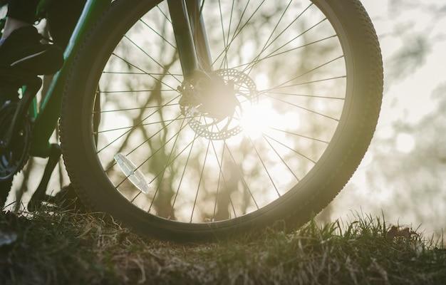 草の上の夕暮れ時のマウンテン バイクのホイールのクローズ アップ